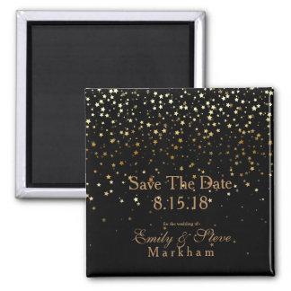 Save The Date Petite Golden Stars Magnet-Black Magnet