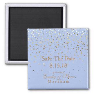 Save The Date Petite Golden Stars Magnet-Blue Magnet