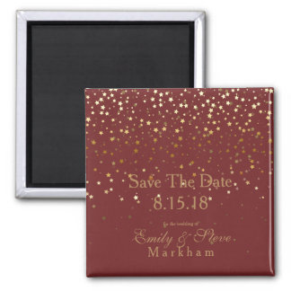 Save The Date Petite Golden Stars Magnet-BRGNDY Magnet