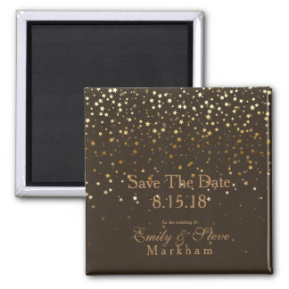 Save The Date Petite Golden Stars Magnet-Brown Magnet