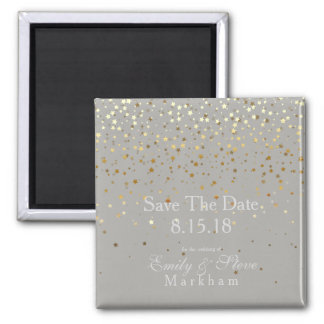 Save The Date Petite Golden Stars Magnet-Grey Magnet