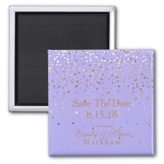 Save The Date Petite Golden Stars Magnet-Lavender Magnet