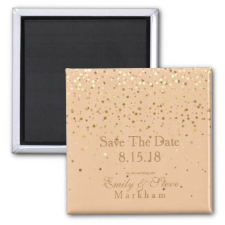 Save The Date Petite Golden Stars Magnet-Peach Magnet