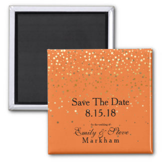 Save The Date Petite Golden Stars Magnet-Tangerine Magnet