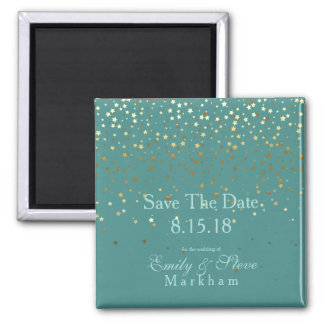Save The Date Petite Golden Stars Magnet-Teal Magnet