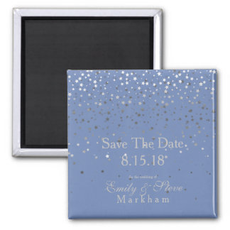 Save The Date Petite Silver Stars Magnet-Blue Magnet