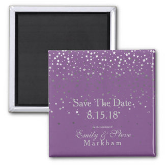 Save The Date Petite Silver Stars Magnet-Purple Magnet