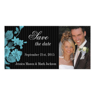 Save The Date Photo Card Aqua Flowers
