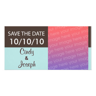 SAVE THE DATE Photo Card - Brown and Light Blue
