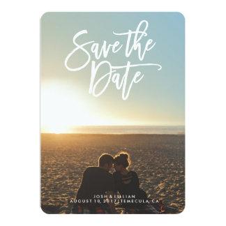 """Save the Date photo card, brush script 5"""" X 7"""" Invitation Card"""