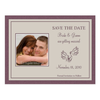 Save the Date Photo Card - Mauve Doves