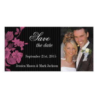 Save The Date Photo Card Pink Flowers