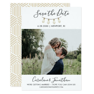 Save the Date Photo Gold Garden String Lights Card