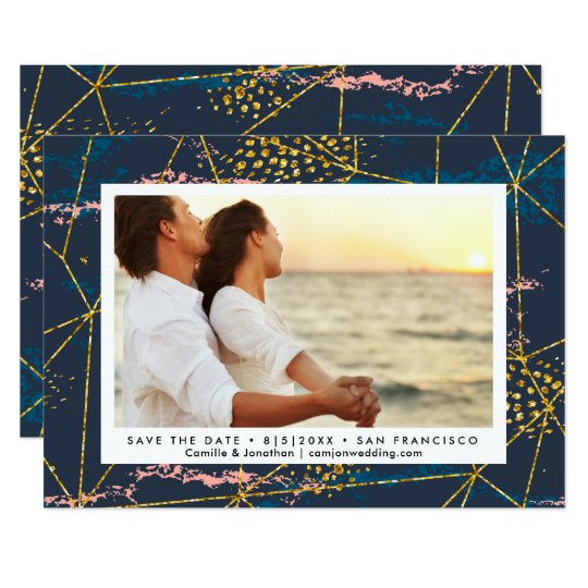 Save the Date Photo Modern Geometric Chic Gold Card