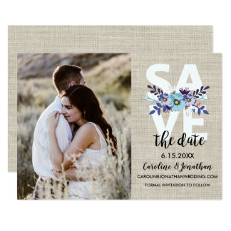 Save the Date Photo Pretty Purple Blue Flowers Card