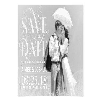 Save the Date Photo-Soft Transparent Overlay Text Magnetic Card