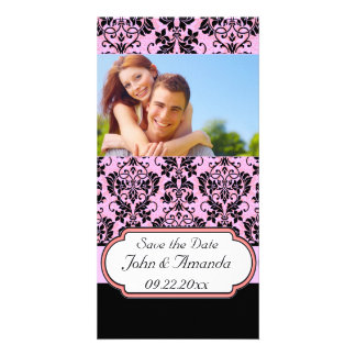 Save the Date ~ Pink and Black Damask Personalized Photo Card