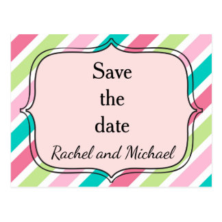 Save the date Pink and Blue Stripes Postcard
