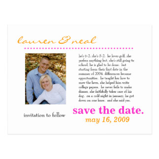 save the date- pink and orage postcard