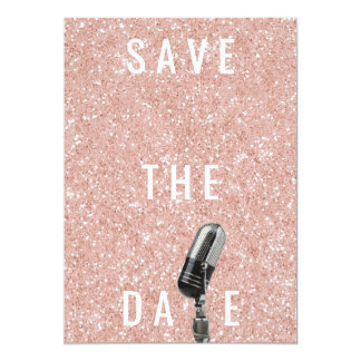 Save The Date Pink Blush Rose Glitter Microfone Card