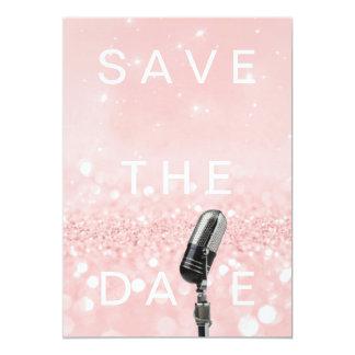 Save The Date Pink Blush Rose Glitter Microfone Card