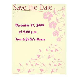 Save the date Pink Floral Flyer