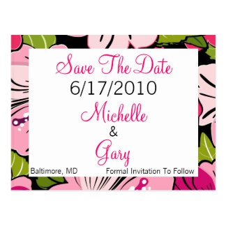 Save The Date - Pink Flower Theme Postcard