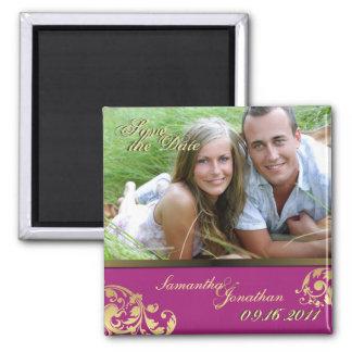 Save the Date Pink & Gold Shimmer Floral Magnet