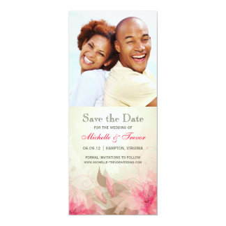 Save the Date - Pink & Green Floral Photo Invites