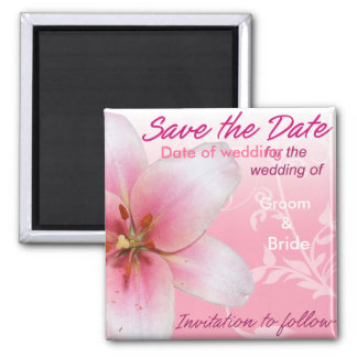 Save the Date Pink Lily Magnet