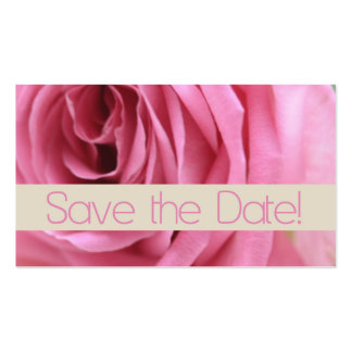 Save the Date pink rose Business Card