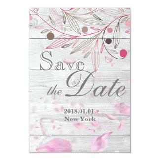 Save the Date - Pink Rose Petals Card