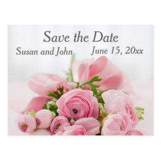 Save the Date Pink Rose Wedding Postcard