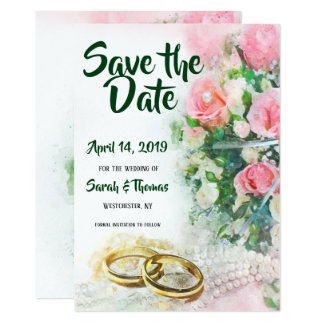 Save the Date Pink Roses with Gold Wedding Bands Card