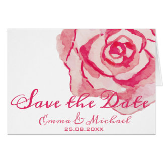 Save the Date | Pink Watercolor Rose Wedding Card