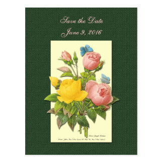 Save the Date Pink Yellow Roses Postcard
