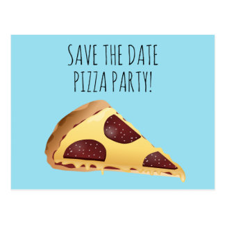 SAVE THE DATE PIZZA PARTY INVITATIONS Postcards