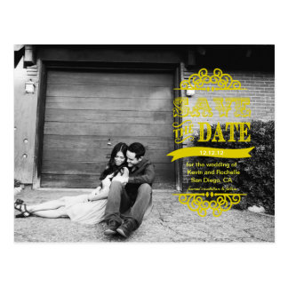 Save the Date Post Card Yellow Modern Wedding