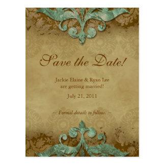 Save the Date Postcard Antique Verdigris