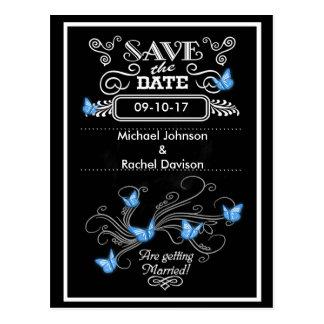 Save the Date Postcard Blue Butterflies Vintage