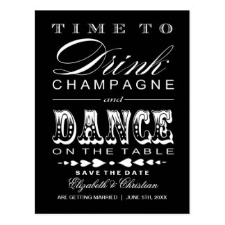 Save the Date Postcard ||Champagne Theater Bill