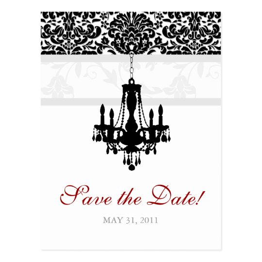 Save the Date Postcard Chandelier Damask BW