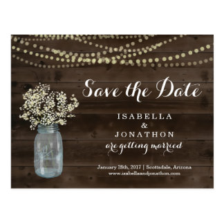 Save the Date Postcard for Rustic Wedding