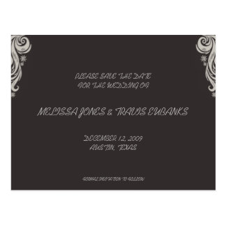 Save the Date Postcard-Grey/Black flourish Postcard