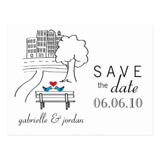 Save the Date Postcard Lovebirds