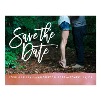 Save the Date Postcard photo card coral watercolor