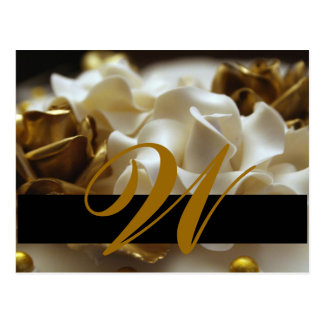 Save the Date Postcards Gold and Cream Monogram