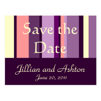 Save the Date Postcards Pink Purple Pattern