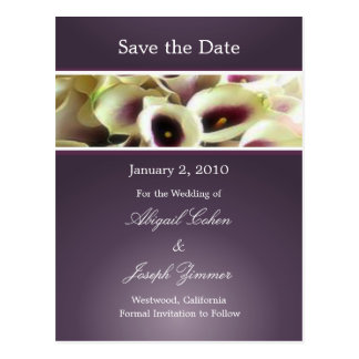 Save the date postcards, purple calla lillies postcard