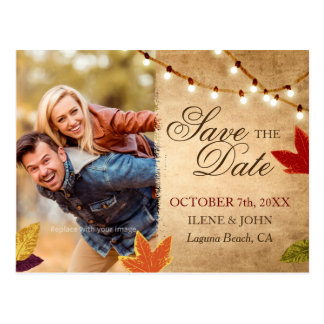 Save the Date Postcards | Rustic Autumn Wedding